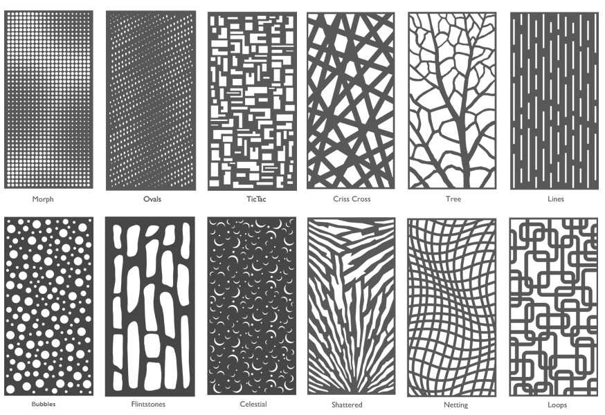 12patternslasercut 1 Moz Designs Decorative Metal And