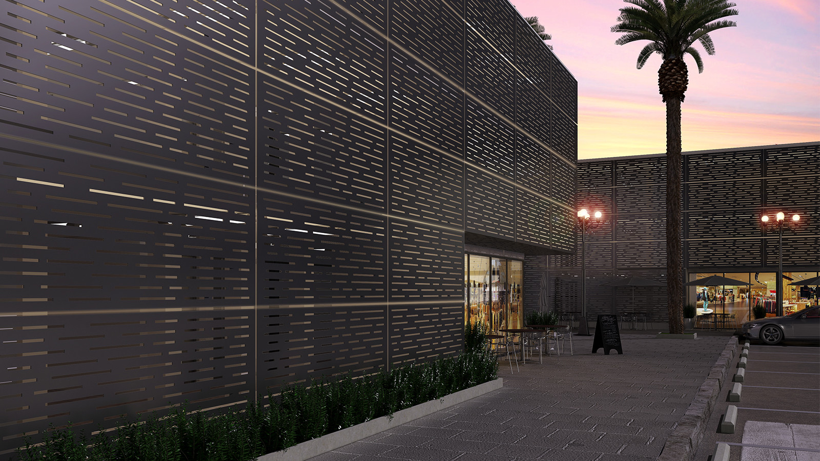 Moz Laser Cut Metal Architectural Exterior Panels Lines pattern