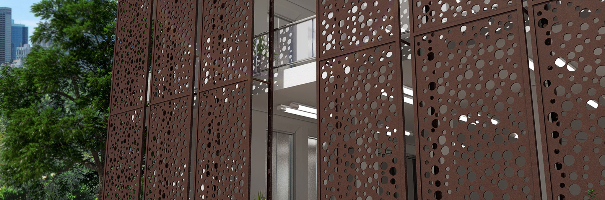 Laser Cut Metal Exterior Architectural Metal Installation